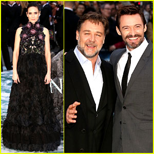 Valjean & Javert Reunite! Hugh Jackman Supports Russell Crowe at 'Noah' UK Premiere!