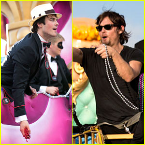 Ian Somerhalder & Norman Reedus Throw Mardi Gras Beads in New Orleans!