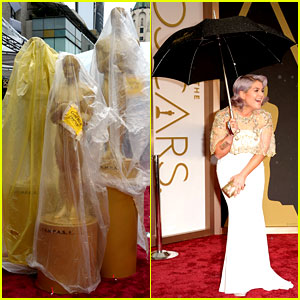 It's Raining at the Oscars 2014! Wet Red Carpet Photos Here!