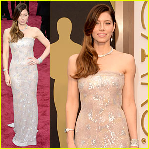 Jessica Biel is a Metallic Stunner on Oscars 2014 Red Carpet