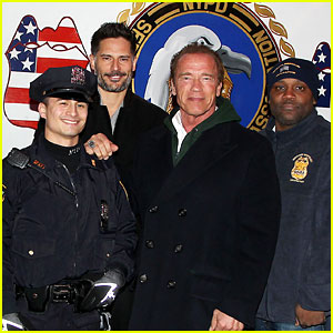 Joe Manganiello & Arnold Schwarzenneger Surprise NYC's Law Enforcement at 'Sabotage' Screening!