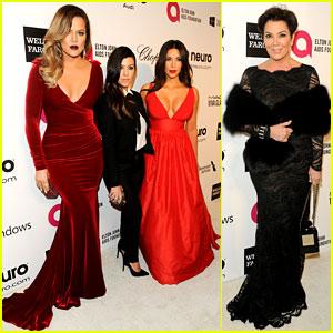 Kardashian Sisters & Kris Jenner - Elton John Oscars Party 2014