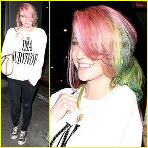 Ke$ha Steps Out with Rainbow Hair After Completing Rehab