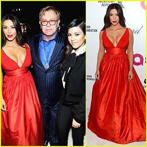 Kim Kardashian Bares Cleavage in Red Dress at Elton John Oscars Party 2014