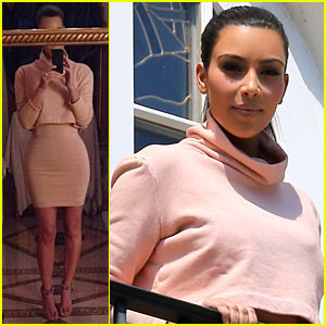 Kim Kardashian Flaunts Tiny Waist in Chic Outfit