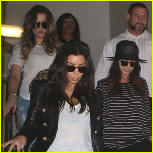 Kim, Kourtney, & Khloe Kardashian Land in Los Angeles After Miami Trip