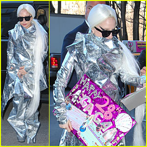Lady Gaga's Star Appeal Really Shines Through in Bold Silver Foil Outfit!