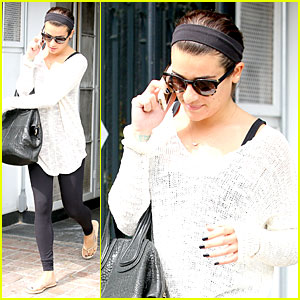 Lea Michele Rocks Sick Black Nails Before Meeting Fans in LA!