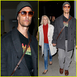 Matthew McConaughey Returns From Rome with Mother Mary in Hand!