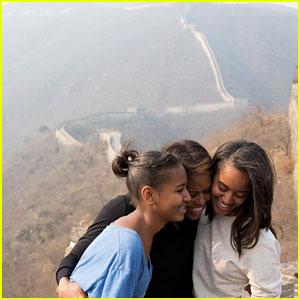 Michelle Obama Visits Great Wall of China with Sasha & Malia!