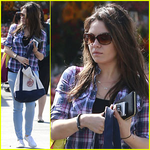 Mila Kunis Keeps Casual in Plaid for Her Grocery Run