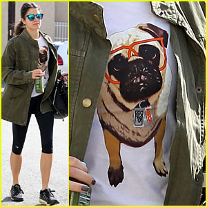 Nikki Reed's T-Shirt with a Pug Wearing Eyeglasses Makes Us Smile!