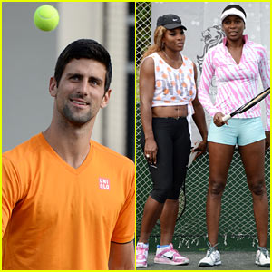Novak Djokovic & The Williams Sisters Play Tennis for Charity