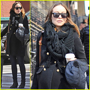 Olivia Wilde Can't Hide Her Growing Baby Bump Under Wool Jacket!