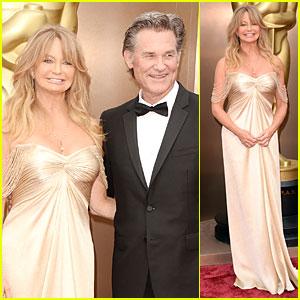 Presenter Goldie Hawn: Golden Goddess on Oscars 2014 Red Carpet with Kurt Russell!
