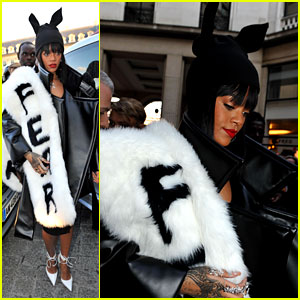 Rihanna's Fur Stole is Covered in 'Fear' at Paris Fashion Show