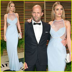 Rosie Huntington-Whiteley Sheers It Up at Vanity Fair Oscars Party 2014 with Jason Statham!