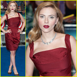 Scarlett Johansson Covers Up Her Baby Bump in a Gorgeous Red Dress for 'Captain A