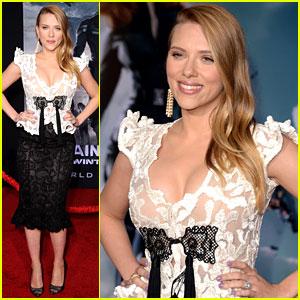 Scarlett Johansson Debuts Pregnant Body in Lace Dress at 'Captain America 2' Premiere!