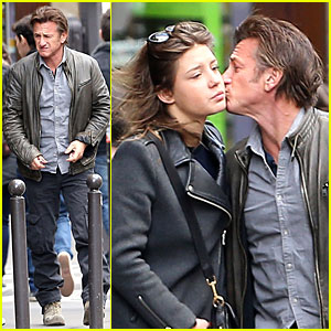 Sean Penn & Adele Exarchopoulos Say Goodbye with a Kiss in Paris!