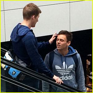 Dustin Lance Black Fixes Tom Daley's Hair While Riding an Escalator