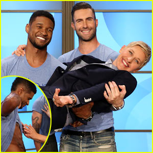 Adam Levine Visits 'Ellen,' Usher Lets Audience Member Feel His Rock-Hard Abs!