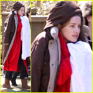 Amber Heard Bundles Up in Tons of Layers on Her Movie Set