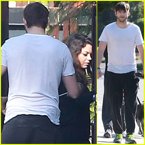 Ashton Kutcher Shields Pregnant Mila Kunis on Easter Sunday Dog Walk!