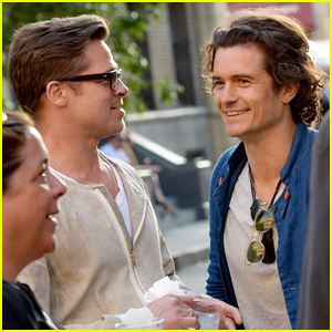 Brad Pitt & Orlando Bloom Have Mini 'Troy' Reunion!