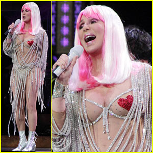 Cher Rocks Heart Shaped Nipple Pasties, Displays Fabulous Figure at 67!