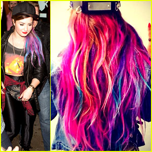 Demi Lovato Shows Off Colorful Clip-On Hair Extensions