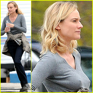 Diane Kruger Gets Direction from Crew Member on 'The Bridge'