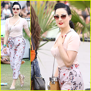 Dita Von Teese Knows How to Stand Out in Floral Pants at Coachella!