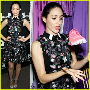 Emmy Rossum Plays with Shoes at Under Armour Store Launch