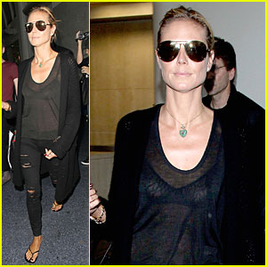 Heidi Klum's Sheer Top Gets Cameras Flashing at LAX Airport!