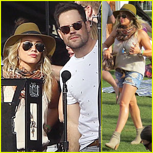 Hilary Duff & Mike Comrie Get Close Backstage at Coachella 2014!