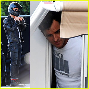Justin Theroux Visits Fiancee Jennifer Aniston on 'Cake' Set!