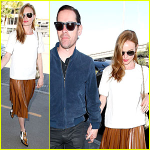 Kate Bosworth & Michael Polish Fly Out in Style at LAX Airport!