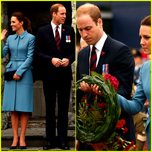Kate Middleton Is Regal in Blue at a Wreath Laying Ceremony