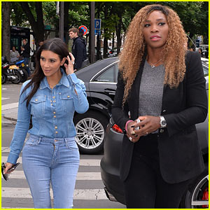 Kim Kardashian Does Double Denim for Paris Lunch with Serena Williams