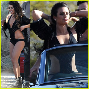 Lea Michele Shows Some Skin in Sexy Swimsuit While Cruising Desert for 'On My Way' Video Shoot