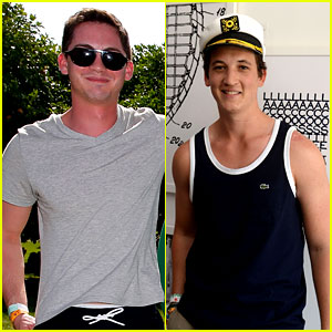 Logan Lerman & Miles Teller Soak Up the Sun at Lacoste's Coachella Pool Party!