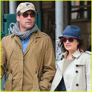 Co-Stars & Pals Jon Hamm & Elisabeth Moss Go On a Coffee Run!