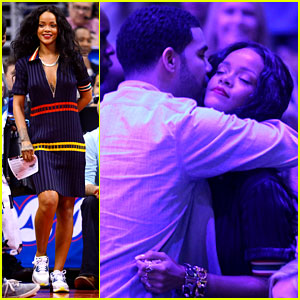 Rihanna & Drake Hug & Kiss at Clippers Game But Sit Separately