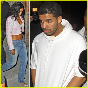 Rihanna Shows Off Toned Stomach for Night Out with Drake at SupperClub!