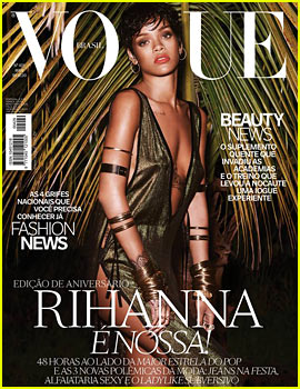 Rihanna Wears Low Cut & High Slit Dress for 'Vogue Brasil' May 2014