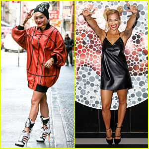 Rita Ora Wears Basketball Print Jacket in the Big Apple