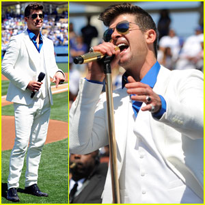 Robin Thicke Helps Open Dodgers Baseball Season with Pre-Game Concert! (Video)