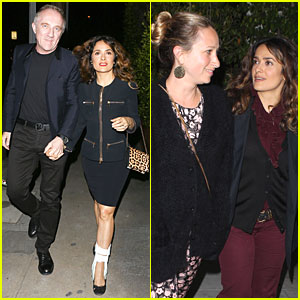 Salma Hayek Can Still Look Classy with an Ankle Brace for Dinner!