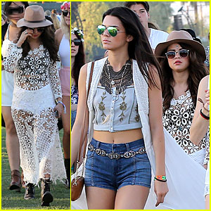 Selena Gomez Flashes Black Bra in Sexy Sheer Dress at Coachella with Kendall & Kylie Jenner!